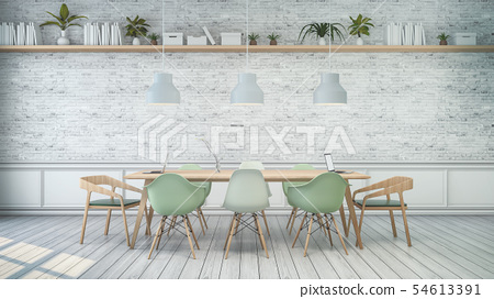 Minimalist interior ,White room with green chair  54613391