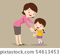 Mom hugging Daughter and talking to her 54613453