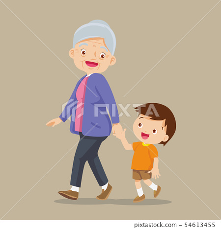 grandson walking with his grandmother 54613455