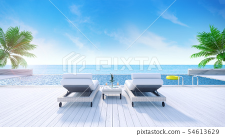 Relaxing summer,daybeds on Sunbathing deck 54613629