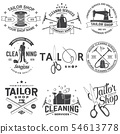 Set of tailor shop, cleaning company badges. Vector. Concept for shirt. Typography design with 54613778