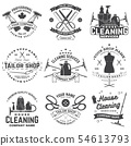 Set of tailor shop, cleaning company badges. Vector. Concept for shirt. Typography design with 54613793