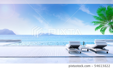 Relaxing summer,daybeds on Sunbathing deck 54613822