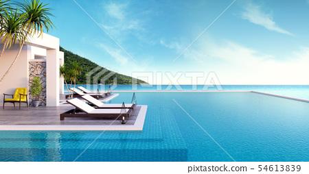 Beach lounge ,sun loungers on Sunbathing deck  54613839
