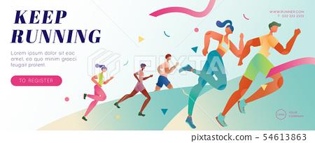 Marathon running banner 54613863