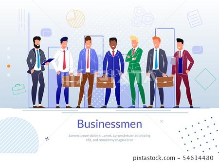 Successful Businessmen Team Flat Vector Poster 54614480