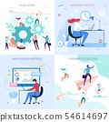 Business Workflow Process Flat Cartoon Cards Set 54614697