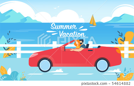 Summer Vacation Happy Couple on Red Cabriolet Car 54614882