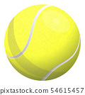 Realistic illustration of yellow tennis ball, isolated on white. Vector illustration 54615457