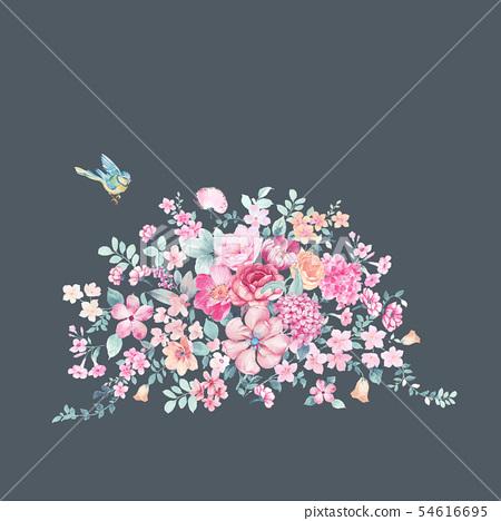 清新水彩花卉和邀請卡設計 54616695