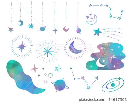 별과 달의 소재 세트 54617508