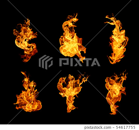 High resolution fire collection isolated on black 54617755