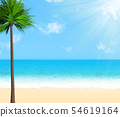 Summer beach with palm tree, clouds and sunshine. 54619164