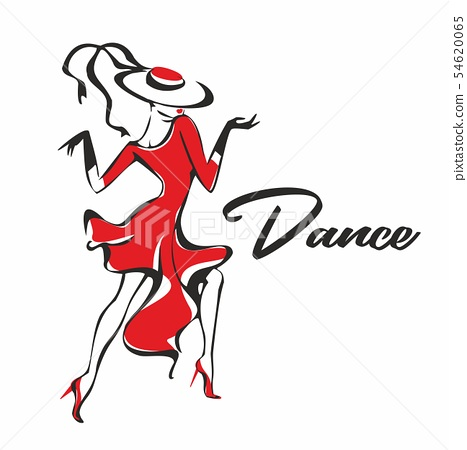 Girl in a red dress dancing . The girl in the hat. 54620065