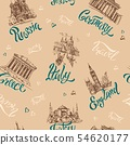Seamless pattern. Countries and cities. Lettering. 54620177