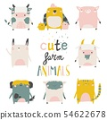 Cute farm animals set on white background. Vector illustration 54622678