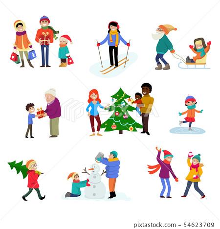 Winter Holiday Cartoon Family Characters Kids Stock Illustration 54623709 Pixta