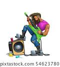 hard rock guitarist playing on white 54623780