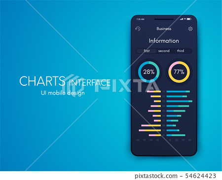 Vector graphics mobile infographics with four options. Template for creating mobile applications 54624423