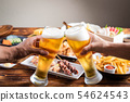 toasting image with beer and japanese izakaya food 54624543