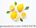 Fresh lemon with leaves isolated on white 54625678