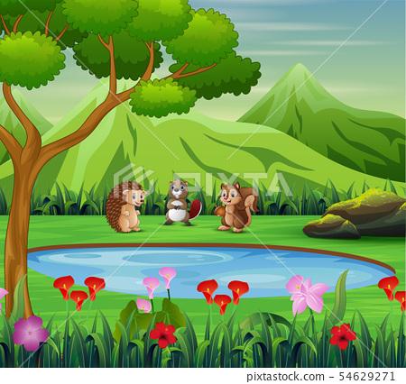 Animal cartoon playing near the small pond 54629271
