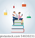 man and woman reading book sitting on glassware 54630231