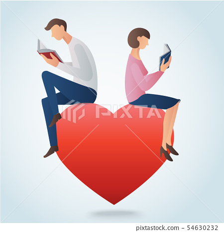 man and woman reading books and sitting on heart 54630232