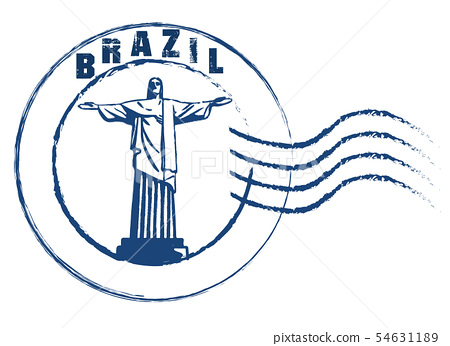 Brazil theme stamp style on white background . 54631189