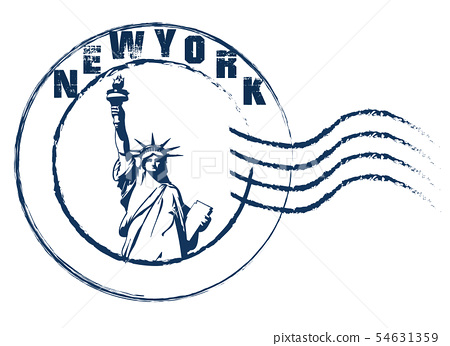 New York Statue of Liberty stamp style . 54631359