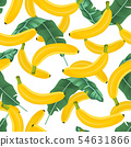 Banana seamless pattern with banana leaves on 54631866