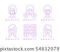 thin line girl head, woman face, beauty logo 54632079