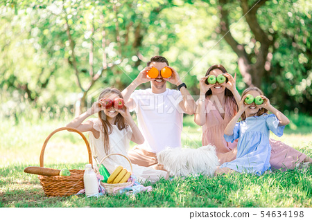 Happy family on a picnic in the park on a sunny day 54634198
