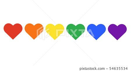 rainbow flag LGBT symbol on heart vector EPS10 54635534