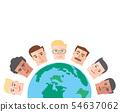 people cartoon around the world background 54637062