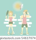 summer season with man and woman 54637074