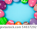 Easter eggs on the sky background. 54637292