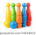 Toy plastic bowling pins and balls set 54638032
