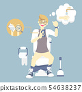 man sitting on flush toilet, using mobile phone 54638237