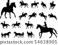 horse riding silhouettes collection. Equestrian 54638905