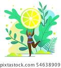 Girl Loves Eating Lemons Vector Illustration. 54638909