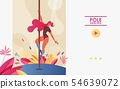 Pole dancing landing page concept banner with 54639072
