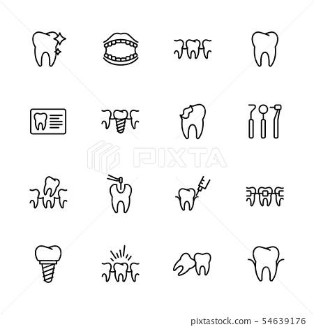 Health teeth, dental treatment, stomatology, medical clinic icon simple symbols set. Contains icon 54639176