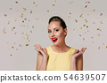 portrait of surprised pin up woman with red lips. 54639507