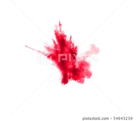 Abstract red dust splattered on white background. 54643239