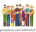 Farmer workers people character agriculture person profession farming life illustration. 54643427