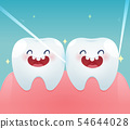 Cartoon teeth with dental floss for healthcare 54644028