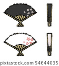 Illustration of a fan of cherry blossoms 54644035