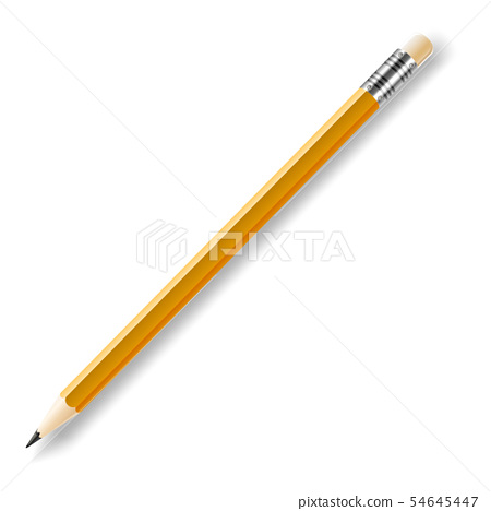 Vector lead pencil with yellow eraser isolated on white 54645447