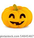 Halloween pumpkin. Smiling Jack-O'-Lantern on a white background 54645467